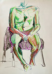 Pastel Life Study - Seated Male by Jane Cartney